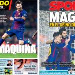 2018年2月25日(日)のバルセロナスポーツ紙:ジローナに大勝