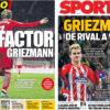 2018年2月27日(火)のバルセロナスポーツ紙:グリースマンに視線