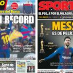 2018年3月06日(火)のバルセロナスポーツ紙:記録破りで映画のようなメッシ