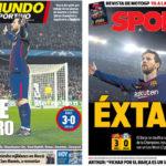 2018年3月15日(木)のバルセロナスポーツ紙:メッシ王、チェルシーを破る