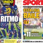 2018年3月19日(月)のバルセロナスポーツ紙:11ポイント差&メッシ王のダンス
