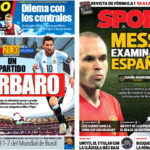 2018年3月27日(火)のバルセロナスポーツ紙:メッシ対スペイン