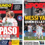 2018年3月28日(水)のバルセロナスポーツ紙:メッシ不在のアルゼンチンに大勝