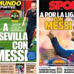 2018年3月30日(金)のバルセロナスポーツ紙:メッシとセビージャへ
