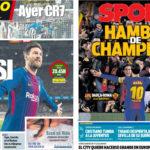 2018年4月04日(水)のバルセロナスポーツ紙:さあCLローマ戦、頼むぞメッシ