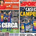 2018年4月09日(月)のバルセロナスポーツ紙:リーガ優勝へさらに近づく