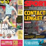 2018年4月16日(月)のバルセロナスポーツ紙:デ・リフトか、ラングレか