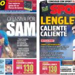 2018年4月19日(木)のバルセロナスポーツ紙:ウンティティとラングレ