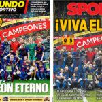 2018年4月22日(日)のバルセロナスポーツ紙:コパの王!