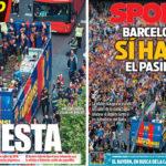 2018年5月01日(火)のバルセロナスポーツ紙:二冠パレード!