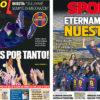 2018年5月21日(月)のバルセロナスポーツ紙:カンプノウがイニエスタに別れ