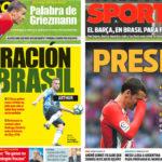 2018年5月23日(水)のバルセロナスポーツ紙:グリースマンとロドリゴ