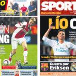 2018年5月31日(木)のバルセロナスポーツ紙:デヨングとエリクセンとCR7