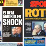 2018年6月01日(金)のバルセロナスポーツ紙:ジダン、突然の退任発表