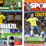 2018年6月18日(月)のバルセロナスポーツ紙:コウチニャッソと本命の勝てないW杯