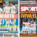2018年6月21日(木)のバルセロナスポーツ紙:ラ・ロハ、ぎりぎりの勝利