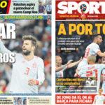 2018年6月25日(月)のバルセロナスポーツ紙:ラ・ロハは首位通過を狙う