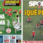 2018年7月02日(月)のバルセロナスポーツ紙:ラ・ロハ、PK戦で敗退
