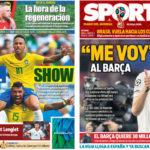 2018年7月03日(火)のバルセロナスポーツ紙:ブラジル勝ち上がり、ラングレ間もなく