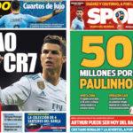 2018年7月06日(金)のバルセロナスポーツ紙:CR7とパウリーニョとW杯