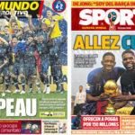 2018年7月16日(月)のバルセロナスポーツ紙:フランスが世界王者に