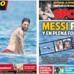 2018年7月18日(水)のバルセロナスポーツ紙: メッシ、イビサでの休日