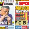 2018年7月25日(水)のバルセロナスポーツ紙:マルコム電撃入団