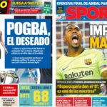 2018年8月02日(木)のバルセロナスポーツ紙:マルコム初得点とポグバ