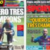 2018年8月07日(火)のバルセロナスポーツ紙:CLを3つ欲するビダル