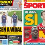 2018年8月08日(水)のバルセロナスポーツ紙:ビダルに喜び、デ・ヨング再燃?