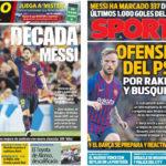 2018年8月20日(月)のバルセロナスポーツ紙:メッシ記念得点の余韻