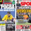 2018年8月28日(火)のバルセロナスポーツ紙:ピケがポグバにウインク