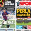 2018年9月10日(月)のバルセロナスポーツ紙:左SBとブラジルの新星