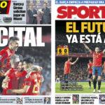 2018年9月12日(水)のバルセロナスポーツ紙:新生スペインのゴール祭り