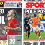 2018年9月13日(木)のバルセロナスポーツ紙:サウールとかデ・ヨングとか