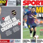 2018年9月14日(金)のバルセロナスポーツ紙:ラキティッチとメッシ