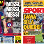 2018年9月18日(水)のバルセロナスポーツ紙:メッシのハットトリックで白星発進