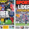 2018年9月30日(日)のバルセロナスポーツ紙:またも勝てず・・・でも首位