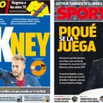 2018年10月18日(木)のバルセロナスポーツ紙:ネイマール復帰の議論とピケ