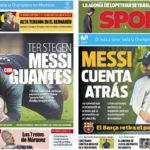 2018年10月23日(火)のバルセロナスポーツ紙:テル・ステーゲンとメッシ