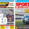 2018年10月24日(水)のバルセロナスポーツ紙:いざ、メッシ不在でのインテル戦