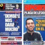 2018年11月27日(火)のバルセロナスポーツ紙:ブスケツ語り、怪我人は多発