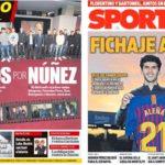 2018年12月05日(水)のバルセロナスポーツ紙:ヌニェスにお別れ