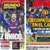 2019年1月18日(金)のバルセロナスポーツ紙:完勝でコパ準々決勝へ