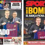 2019年1月24日(木)のバルセロナスポーツ紙:待望のデ・ヨング、獲得!
