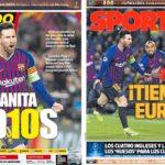 2019年3月14日(木)のバルセロナスポーツ紙:メッシパワーでCL準々決勝へ