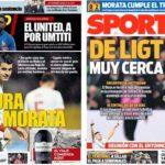 2019年3月27日(水)のバルセロナスポーツ紙:モラタ弾でラ・ロハ勝利