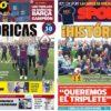 2019年4月29日(月)のバルセロナスポーツ紙:バルサ女子、初のCL決勝へ!
