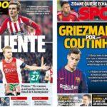 2019年5月14日(火)のバルセロナスポーツ紙:グリースマン熱く