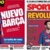 2019年6月04日(火)のバルセロナスポーツ紙:ほんまにやりよった市松模様